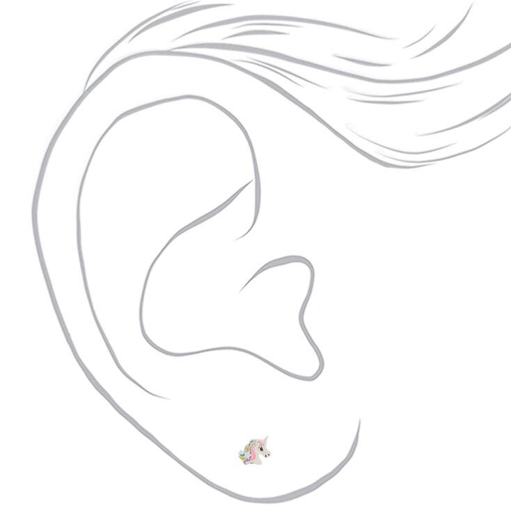 Silver Pretty Pastel Unicorn Stud Earrings,