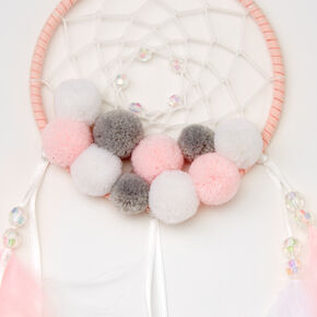 Pom Pom Feather Dreamcatcher - Pink,