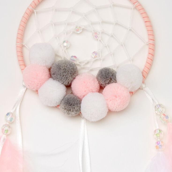 Pom Pom Feather Dreamcatcher - Pink,