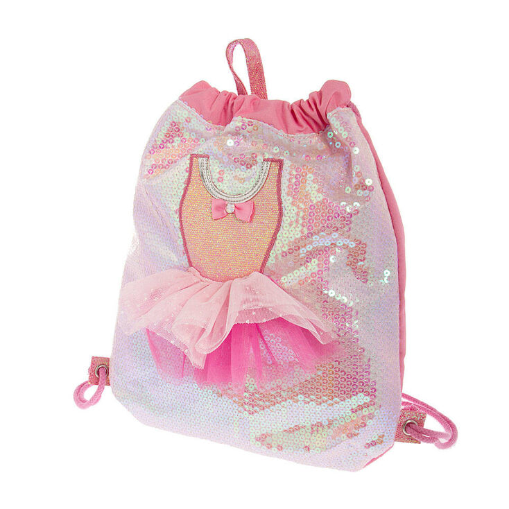 c08ed97f7 Claire's Club Ballerina Dress Sequin Drawstring Bag - Pink | Claire's US