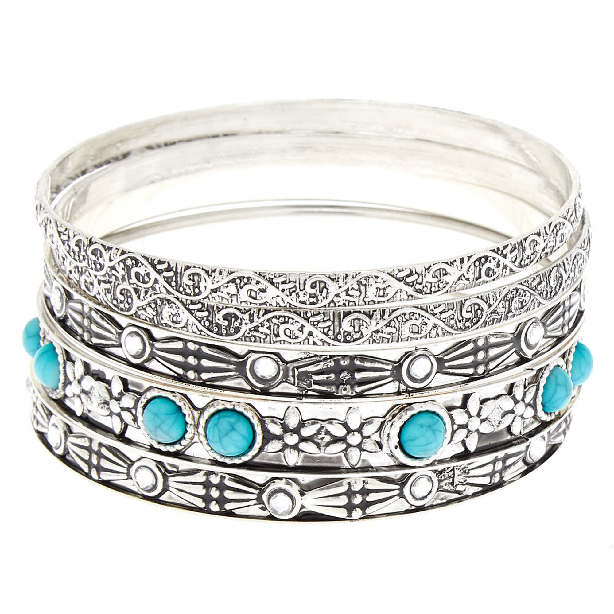 27f9ebe1eb Silver Vintage Bangle Bracelets - Turquoise, 5 Pack | Claire's