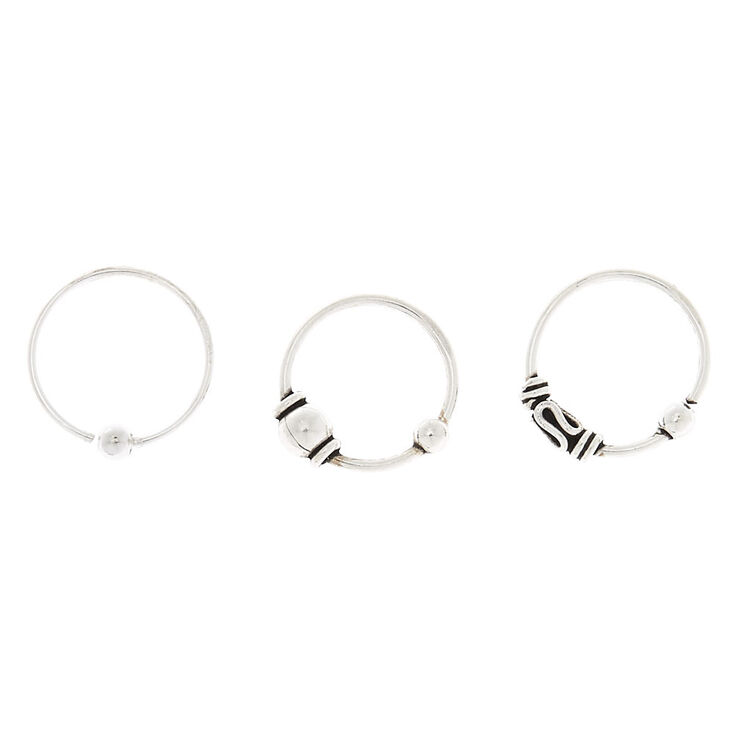 Sterling Silver 22G Beaded Cartilage Rings - 3 Pack,