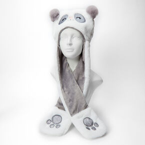 Claire's Club Panda Hooded Scarf - White,