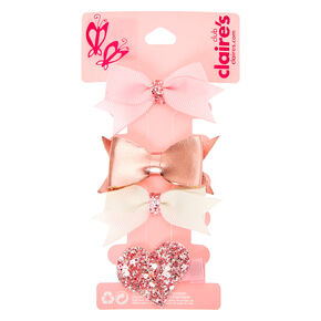 Claire's Club Hair Bow Clips - Pink, 4 Pack,