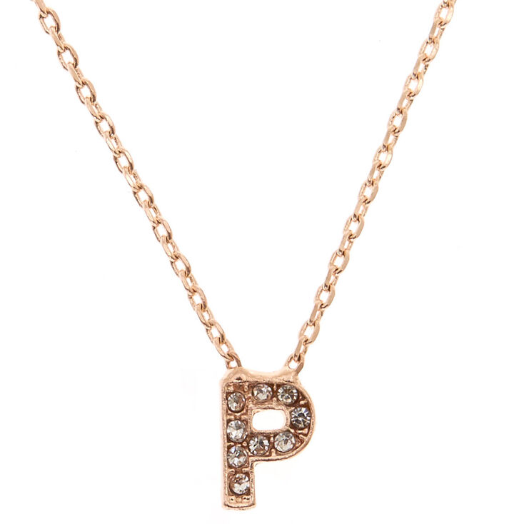 Rose Gold Embellished Initial Pendant Necklace - P,
