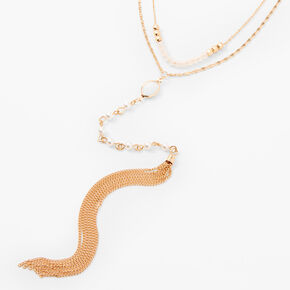 Collier lariat multi-rangs à franges et perles d'imitation couleur dorée,