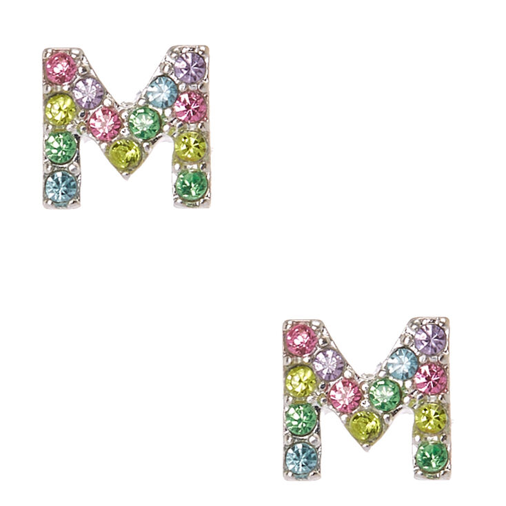 Silver Tone Pastel M Initial Stud Earrings