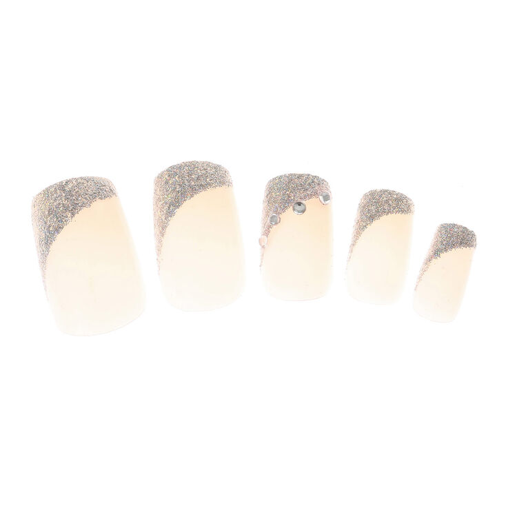 Angled Glitter French Tip Square Faux Nail Set - 24 Pack,