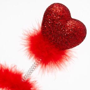 Serre-tête à antennes cœurs rouges à paillettes,