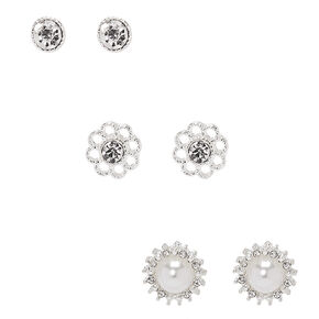 Silver Floral Embellished Stud Earrings - 3 Pack,