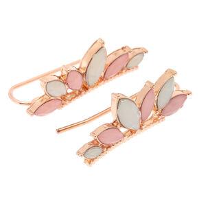 Blush Stone Ear Crawler Earrings,