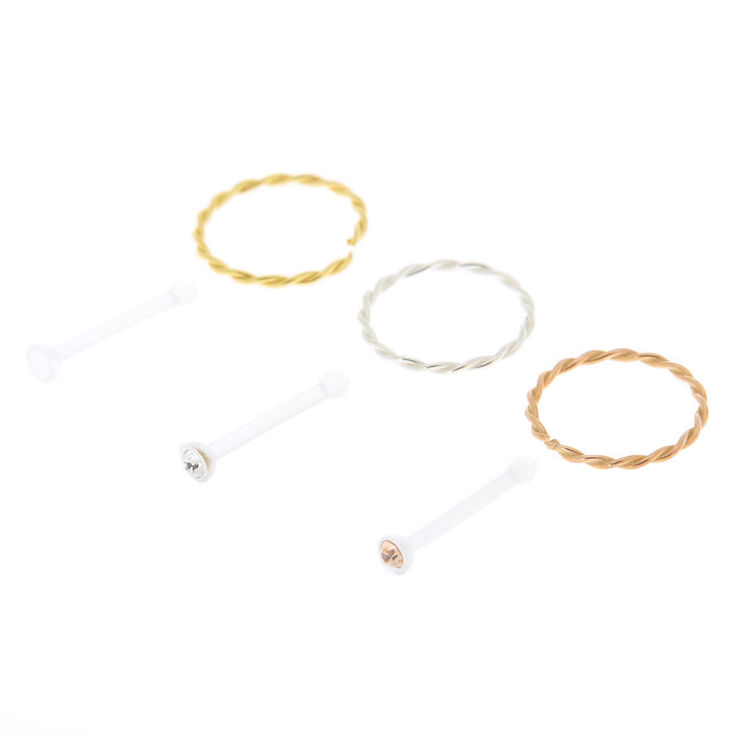 Mixed Metal 22G Braided Nose Hoops & Studs - 6 Pack,