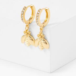 Gold 15MM Crystal Bee Huggie Hoop Earrings,