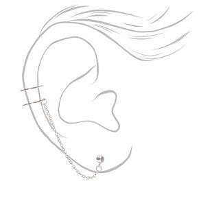 Boucle d'oreille et double manchette connectées strass couleur argentée,