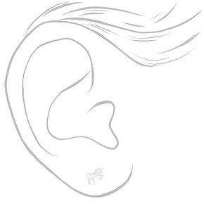 Sterling Silver Unicorn Stud Earrings,