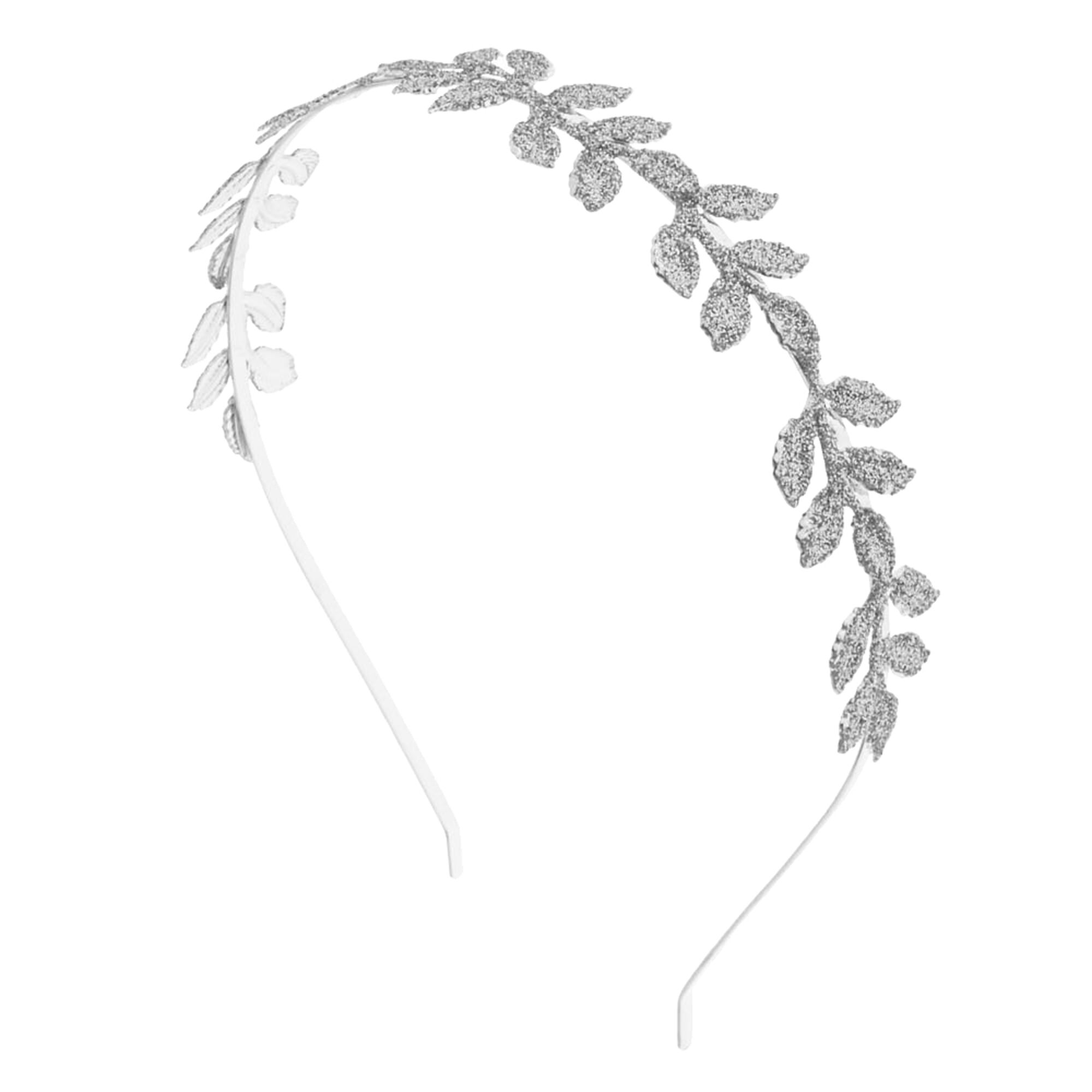 silver glitter leaf headband s us