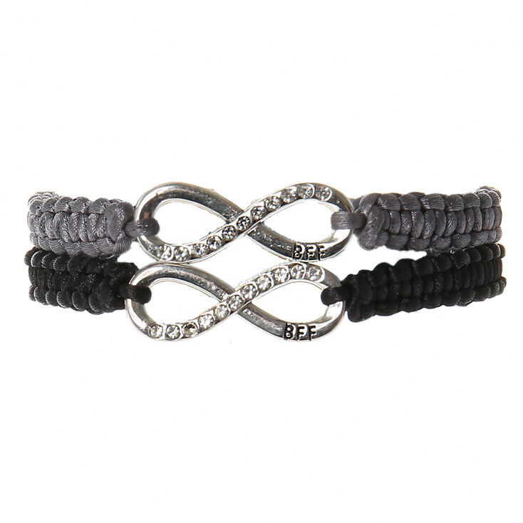 Infinity Adjustable Friendship Bracelets - Gray, 2 Pack,