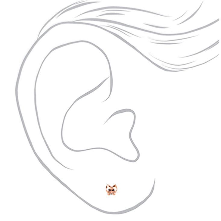 18kt Rose Gold Plated Gizmo Owl Stud Earrings,