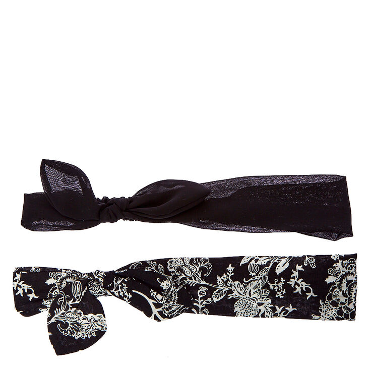 Skinny Floral Bow Headwraps - Black, 2 Pack,