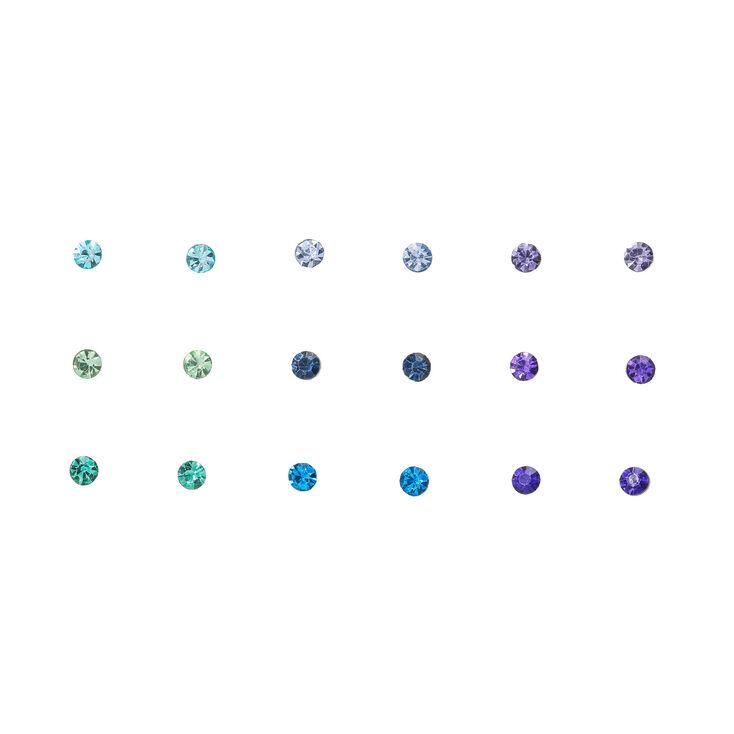Icy Blue Crystal Stud Earrings - 9 Pack,