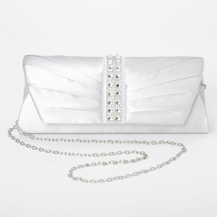 Embellished Clutch Bag - Silver,