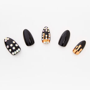 Bling Golden Drip Stiletto Faux Nail Set - Black, 24 Pack,