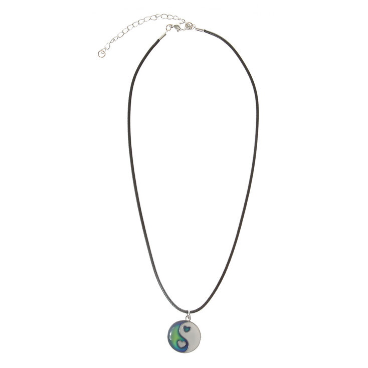 Silver Heart Yin Yang Mood Pendant Necklace - Black,