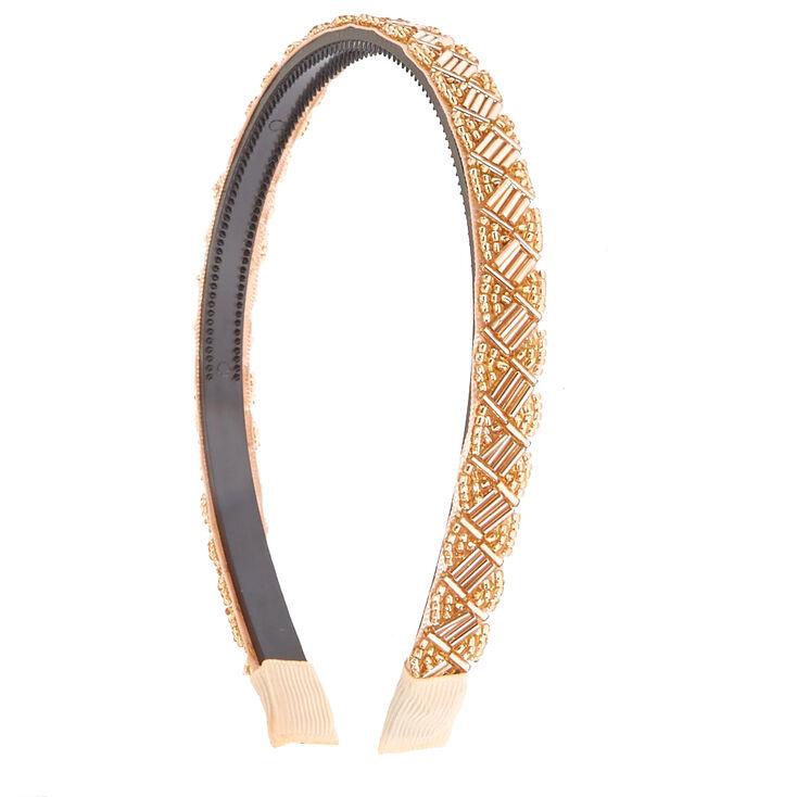 Beaded Rose Gold Headband,