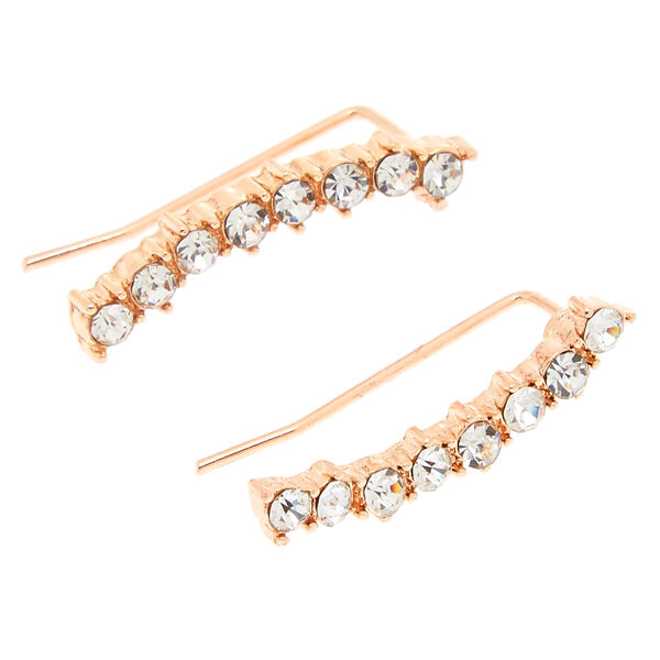 Claire's - rose curved faux crystal bar ear crawler - 1