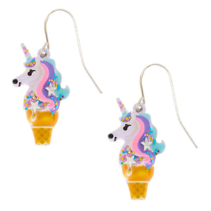 Unicorn Ice Cream Cone Drop Earrings