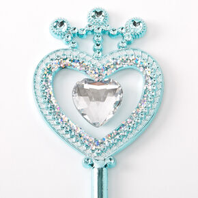 Claire's Club Glitter Heart Wand - Turquoise,