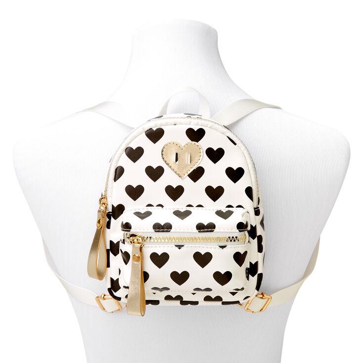 Claire's Club Heart Print Mini Backpack -White,