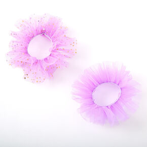 Claire's Club Small Star Tulle Hair Scrunchies - Purple, 2 Pack,