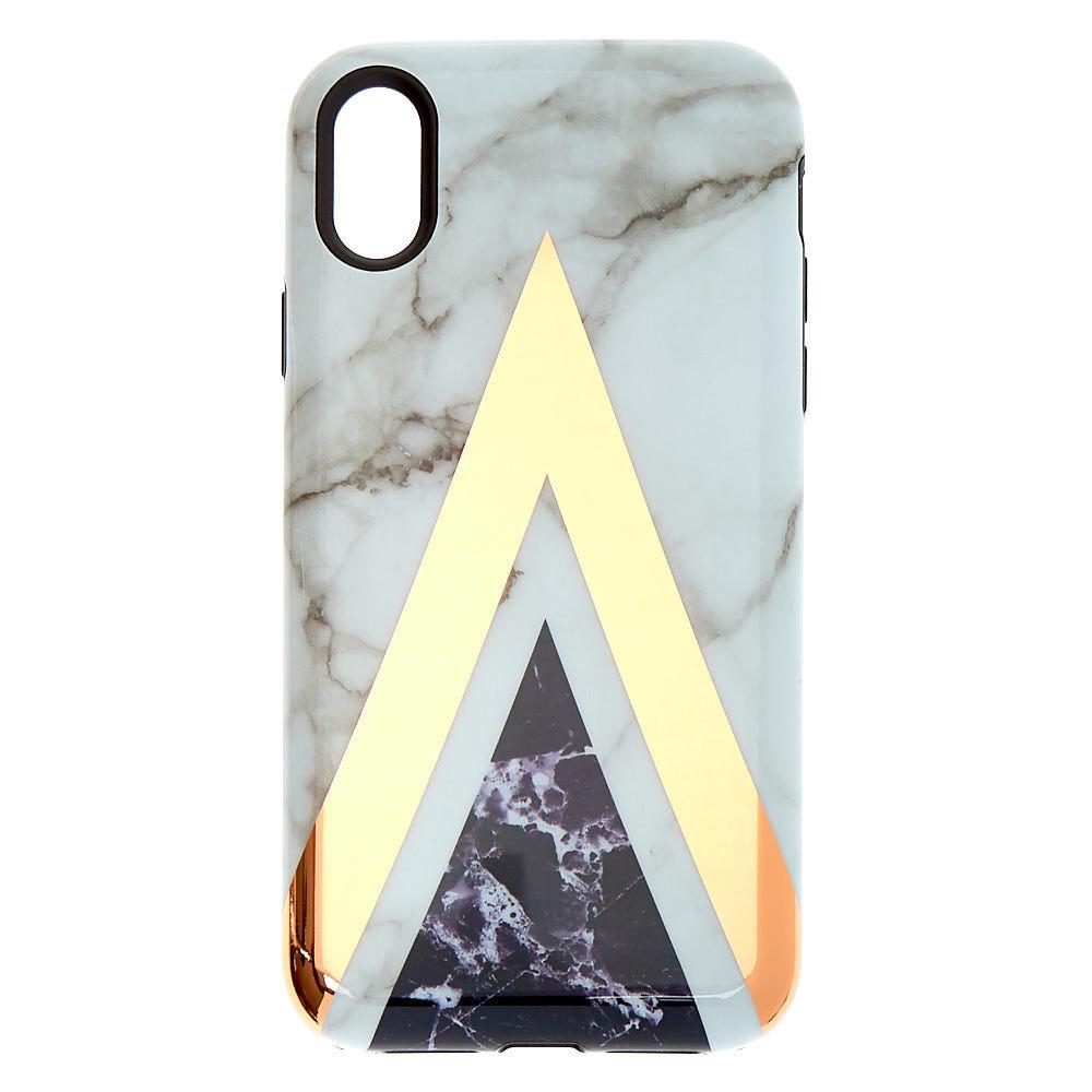 Coque de portable protectrice aux formes géométriques effet marbré - Compatible avec iPhone XR