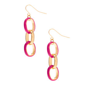 "Gold 1.5"" Enamel Link Drop Earrings - Red,"