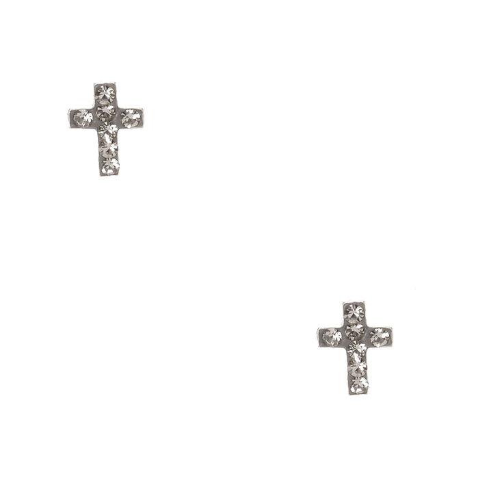 Sterling Silver Hemae Cross Earrings