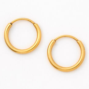 Gold Titanium 12MM Hinge Hoop Earrings,