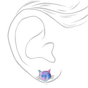 Tie-Dye Kitten Clip-On Stud Earrings,