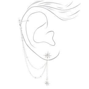 Silver Embellished Starburst Linear Ear Cuff Drop & Stud Earrings - 3 Pack,