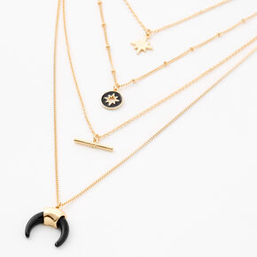 Collier à pendentif multi-rangs étoile éclatée couleur dorée,