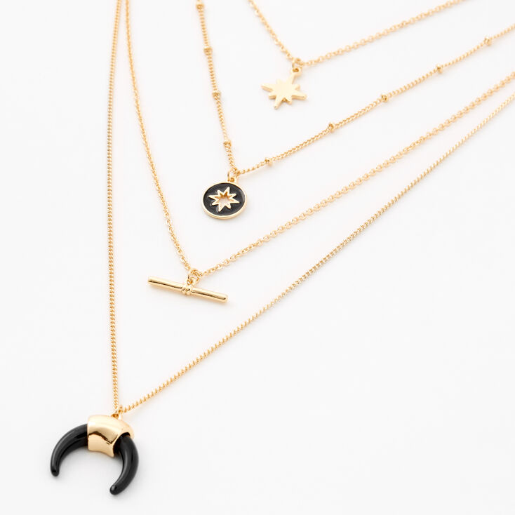 Gold Starburst Multi Strand Pendant Necklace,