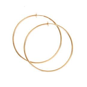 Gold 60mm Clip On Hoop Earrings