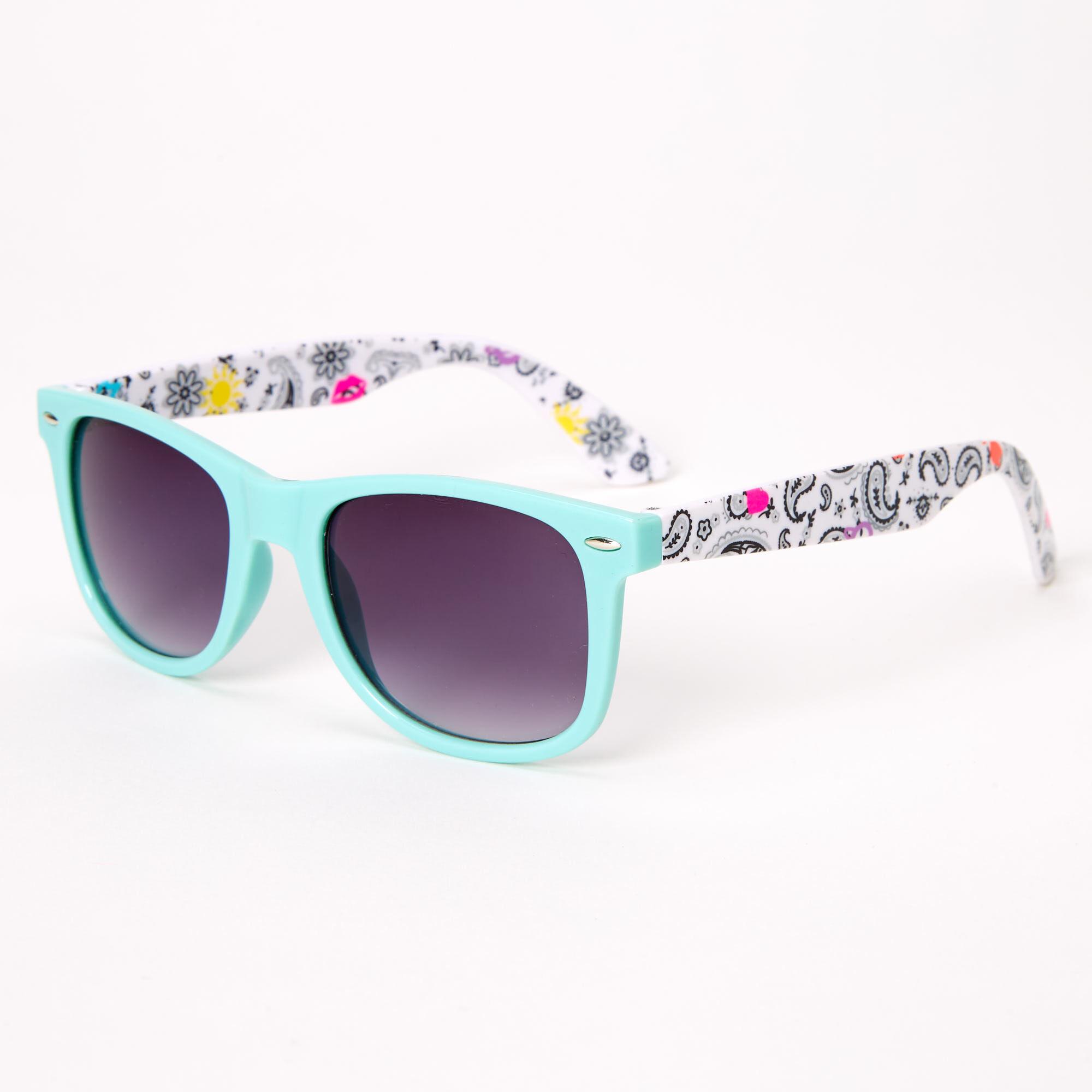 Claires Girls Chevron Retro Sunglasses Mint Green