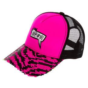 !!@#$! Word Bubble Reversible Sequin Zebra Trucker Hat - Pink,