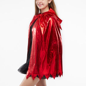 Metallic Hooded Devil Cape - Red,