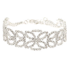 Silver Rhinestone Lotus Chain Bracelet,