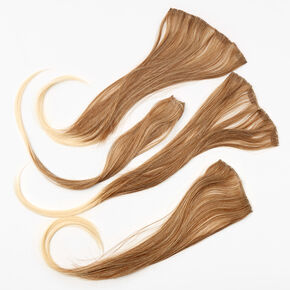 Ombre Brown & Blonde Faux Hair Clip In Extensions - 4 Pack,