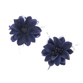 Feather Flower Hair Clips - Navy, 2 Pack,