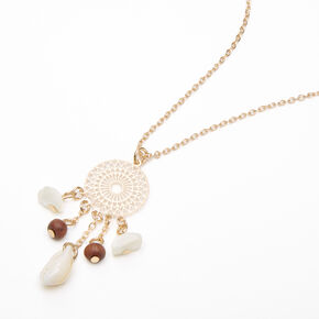 Gold Filigree Dreamcatcher Seashell Pendant Necklace,