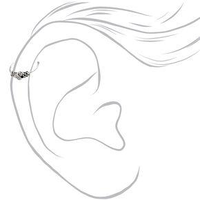 Anneaux pour piercing de cartilage torsadés Bali 0,6mm couleur argentée - Lot de 3,